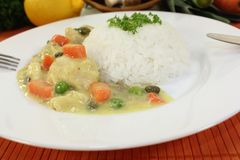 Chicken fricassee with carrots Royalty Free Stock Photos