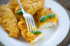 Chicken fried in batter Stock Photo