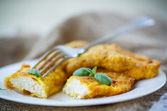 Chicken fried in batter Royalty Free Stock Photos