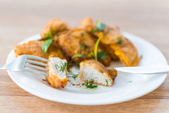 Chicken fried in batter Stock Images