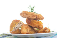 Chicken fried in batter with dill Stock Photos