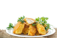 Chicken fried in batter Royalty Free Stock Photo
