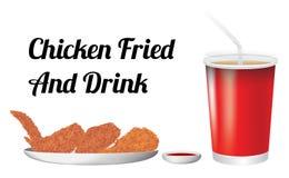 Chicken fried and drink. A chicken fried and drink Royalty Free Stock Photos
