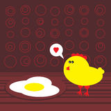 Chicken and fried eggs. Royalty Free Stock Photos