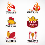 Chicken fried and fire logo vector set design Royalty Free Stock Photos