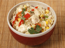 Chicken fried rice in a bowl from above Royalty Free Stock Image