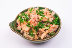 Chicken fried rice. In bowl isolated on white background Royalty Free Stock Photos