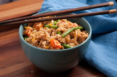 chicken fried rice with chopsticks Royalty Free Stock Image