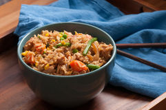 chicken fried rice with chopsticks Royalty Free Stock Photo