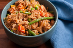chicken fried rice with chopsticks Royalty Free Stock Images