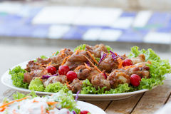 Chicken fried with salad Royalty Free Stock Images