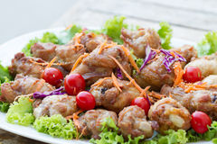 Chicken fried with salad Royalty Free Stock Image