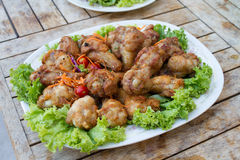 Chicken fried with salad royalty free stock photo