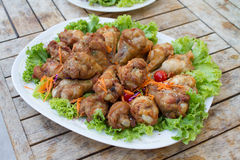 Chicken fried with salad stock photo