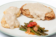 Chicken Fried Seitan with Biscuit and Gravy stock photo