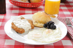 Chicken fried steak breakfast Royalty Free Stock Images