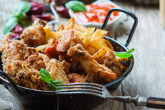 Chicken with fries Royalty Free Stock Photography