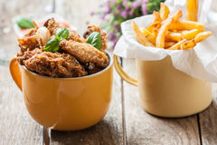 Chicken with fries Royalty Free Stock Image