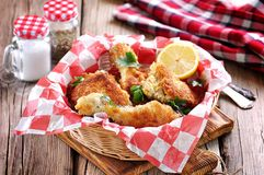 Chicken fries with panko, salt, pepper and lemon Stock Image