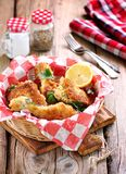 Chicken fries with panko, salt, pepper and lemon Royalty Free Stock Photos