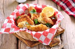 Chicken fries with panko, salt, pepper and lemon Royalty Free Stock Image