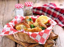 Chicken fries with panko, salt, pepper and lemon Stock Photo
