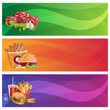 chicken,fries,steaks and burger vector banners set Royalty Free Stock Image