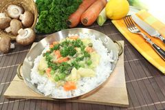 Chicken frikassee with rice and vegetables Stock Images