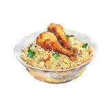 The chicken fry rice national dish isolated on white background, watercolor illustration. In hand-drawn style Vector Illustration