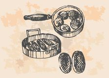 Chicken In Frying Pan - Retro Clipart Illustration Stock Photo