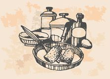Chicken In Frying Pan - Retro Clipart Illustration Stock Image