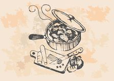 Chicken In Frying Pan - Retro Clipart Illustration Stock Photography