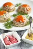 Chicken galantine aspic. With horseradish and mustard sauces Stock Photography