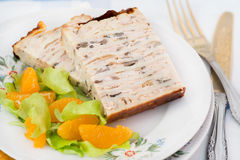 Chicken galantine stuffed with pancakes. Meat and mushrooms Royalty Free Stock Photos