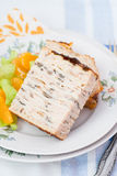 Chicken galantine stuffed with pancakes. Meat and mushrooms Royalty Free Stock Photo