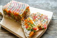 Chicken galantine with vegetables. Dietary chicken galantine with boiled and marinatad vegetables Stock Image