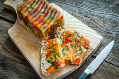 Chicken galantine with vegetables. Dietary chicken galantine with boiled and marinatad vegetables Stock Photos