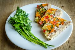 Chicken galantine with vegetables. Dietary chicken galantine with boiled and marinated vegetables Stock Photography