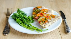 Chicken galantine with vegetables. Dietary chicken galantine with boiled and marinatad vegetables Stock Photo