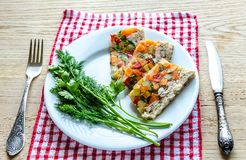 Chicken galantine with vegetables. Dietary chicken galantine with boiled and marinatad vegetables Royalty Free Stock Image