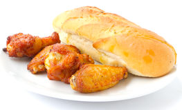 Chicken and garlic bread Royalty Free Stock Photography
