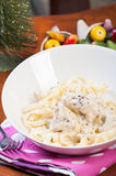 Chicken garlic cream pasta Royalty Free Stock Photos