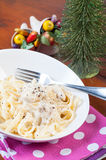 Chicken garlic cream pasta Royalty Free Stock Images
