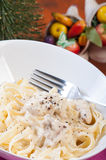 Chicken garlic cream pasta Stock Photos