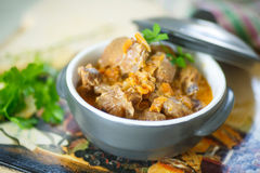 Chicken gizzards stewed with vegetables Royalty Free Stock Image