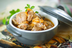 Chicken gizzards stewed with vegetables Royalty Free Stock Photography