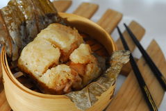 Chicken in Glutinous rice. Chicken Glutinous rice wrapped by Lotus leaf Royalty Free Stock Photo