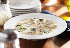 Chicken and gnocchi soup meal Stock Photo