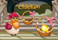 Chicken with the golden egg, two baskets Royalty Free Stock Images
