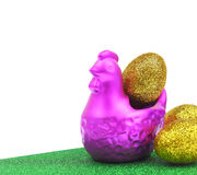 Chicken with golden eggs Easter Stock Photography